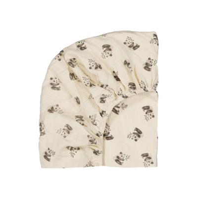 Drap housse panda naturel - Rose in April