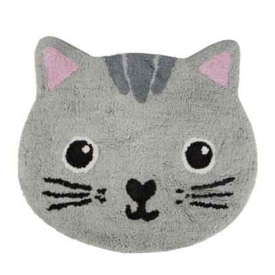 Tapis chat gris Kawaii friends en coton Sass&Belle