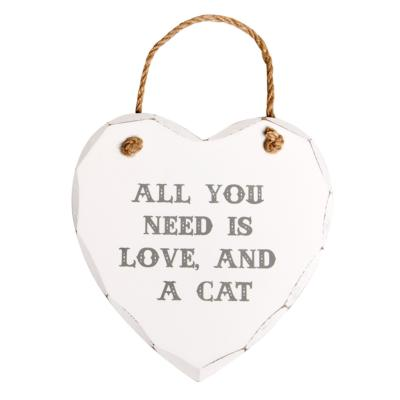 Coeur en bois All you need is love and a cat